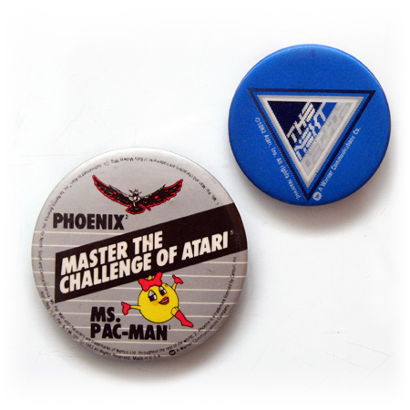 Vintage Atari badges - Phoenix + Ms. Pac-man